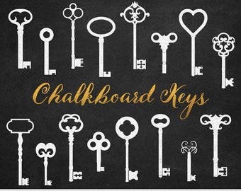 Chalkboard Keys Clipart White Key Clip Art Steampunk Digital Keys Invitations Stamp Scrapbooking Silhouette Clipart
