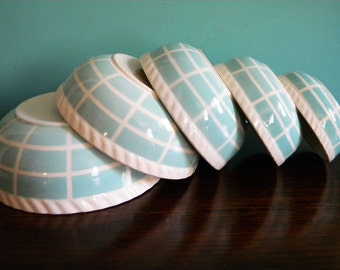 Vintage Set of 5 Nesting Bowls Blue Airbrushed Made in Germany