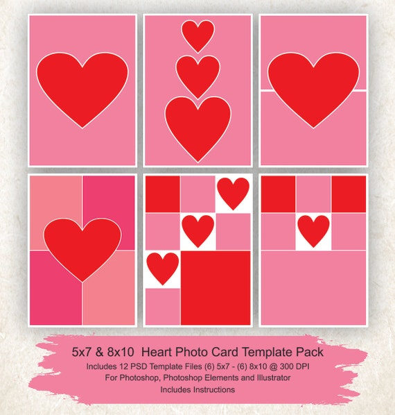 5x7 and 8x10 Photo Collage Template 12 Pack, Hearts Card Template ...