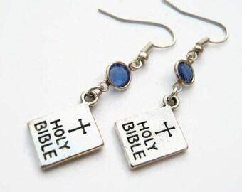 Bible Birthstone Earrings, Personalized Earrings, Religious Jewelry, Church Gift, Holy Book Earrings, Christian Earrings, Catholic Jewelry