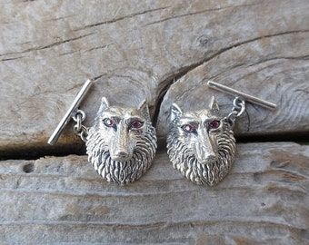 ON SALE Beautiful Wolf cufflings, great detail, handmade in sterling silver 925 with red cz for eyes