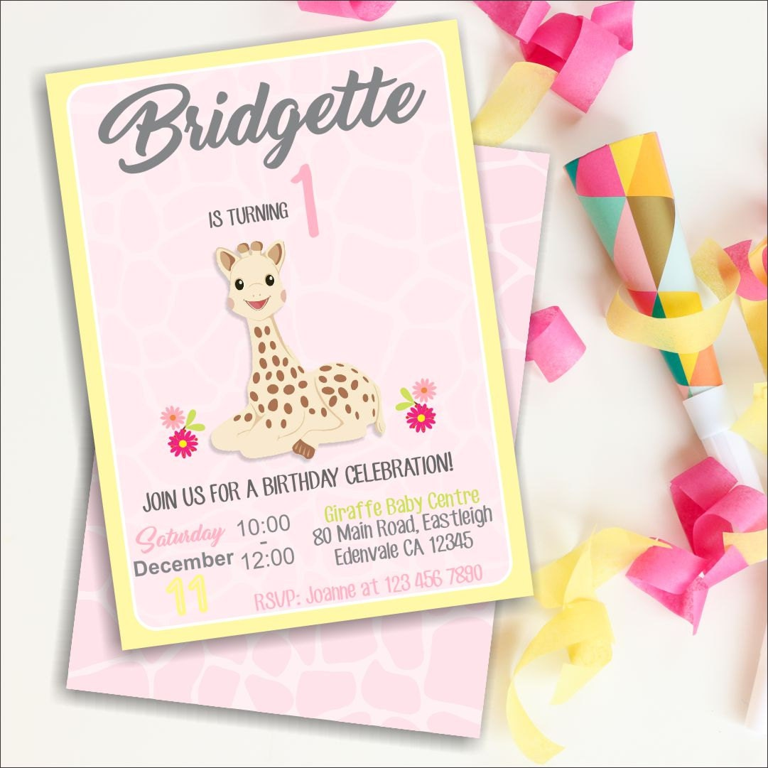 Sophie Giraffe 1st Birthday Invitation 1st Birthday Giraffe