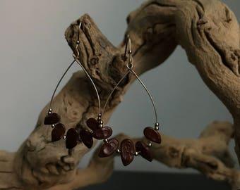 Jamaican Cocoa Bean Teardrop Hoop Earrings