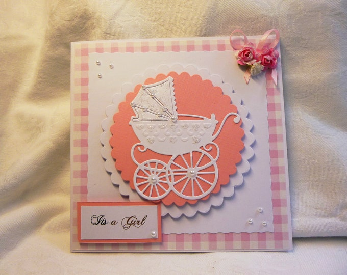 New Born Baby Girl Card, Just Arrived, New Arrival Card,Baby Shower Card, Card For Baby Girl, Pink and White Baby Card, Baby Girl Card