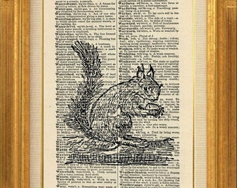 40% OFF SALE Squirrel Printed on Vintage Dictionary Page - 412B - Buy 2 Get 1 Free, Dictionary Art Print, Vintage Squirrel Art Print, Animal
