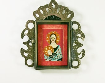 Madonna and Child in Mexican Nicho Original