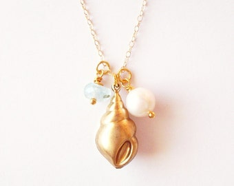 Gold Seashell Charm Necklace Mermaid Jewelry Sea Shell Pendant Aquamarine Pearl Ariel Bridal Bridesmaids Beach Weddings Womens Gift For Her