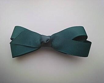 Hair clip Alligator Clip bow tie (9cm) shaped dark emerald green