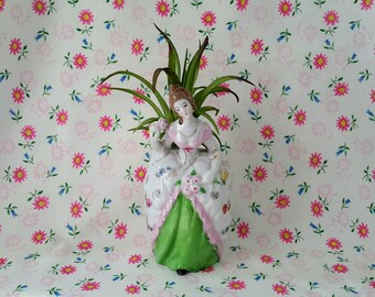 Vintage Ceramic Wall Pocket/Planter, Victorian Lady Holding Flowers