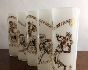 Set of 5 Vintage Gold On White Glass Spanish Dancer Glasses Tom Collins Iced Tea Barware Bar Cart Mad Men Home Decor