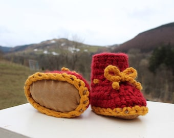 Crochet baby booties with accent laces- lots of colours AVAILABLE TO ORDER
