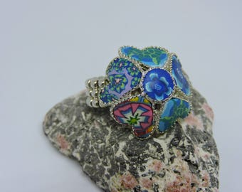 Stretch Ring, Silver, Adjustble Ring, Polymer Clay Jewelry, Multi Color, Heart, Flower
