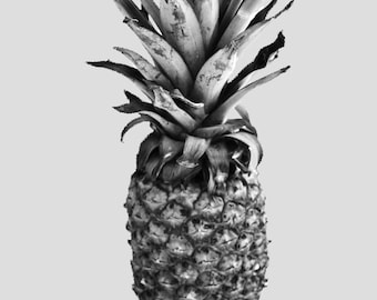Eclectic Pineapple Print, Black, Grey and White