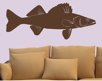 Gift For the Fisherman: Huge Walleye Fish Vinyl Wall Decal, Man Cave or Party Decoration for Dad, Father, Grandfather (001612b7v)