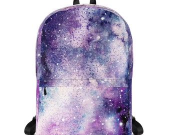 Pink and Blue Galaxy Waterproof Laptop Backpack~Pink Nebula Rucksack~Space and Stars Book Bag~School Supplies~Galaxy School Bag~Bag for Kids