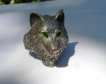 Sterling Silver Timber Wolf Ring With Green Eyes