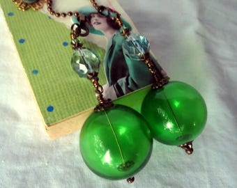 Chain Pull Pair for Ceiling Fan or Lamp with Green Hollow Glass Beads