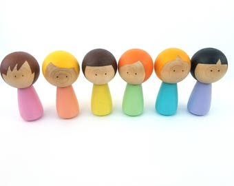 Pastel peg doll set, Easter gift, Montessori preschool toy, Waldorf toy, Travel toy, wooden peg doll set, Rainbow peg dolls, peg people