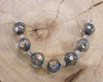 Murano Glass Necklace,  925 Sterling Silver, Venetian Jewelry,  Glass Jewelry, Made in Italy