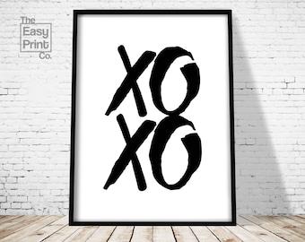 XOXO Print, Wall Art, Typography Poster, Home Decor, Office Printable, Modern Print, Minimalist, Home Wall Art, Typography Art, Scandinavian