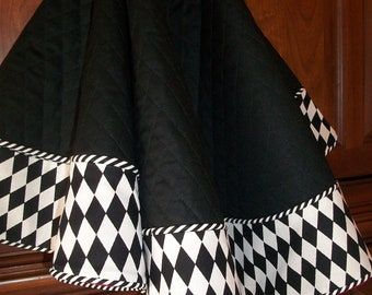 """38"""" Stunning Deep Black with Black and White Reversible Christmas Tree Skirt  2018 Collection"""