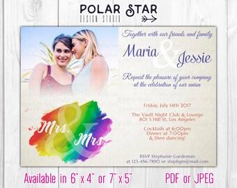 Mrs and Mrs - Modern Lesbian Wedding / Engagement Photo Invitation - LGBT Watercolor Rainbow, Old Paper - DIY Printable Digital File (153)