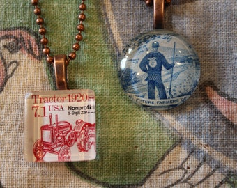 FFA(50th anniversary), farmer, 4H, Ag, tractor vintage postage stamp glass drop pendant on necklace with copper colored ball chain. *choice*