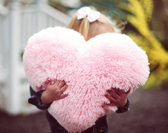 Fluffy Pink Heart Shaped Decorative Pillow Valentines Day Decor - Small Size