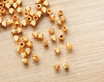 25 pcs of Geometric Polygon 24k gold Plated color Brass Jewelry Beads - 5mm