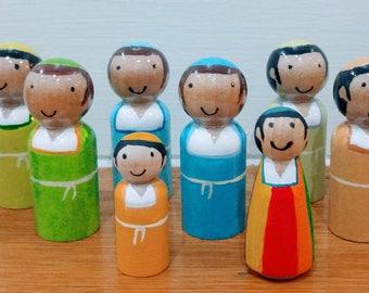 Shvatim, twelve tribes +Dinah, ancient Israel, biblical, wood peg doll set