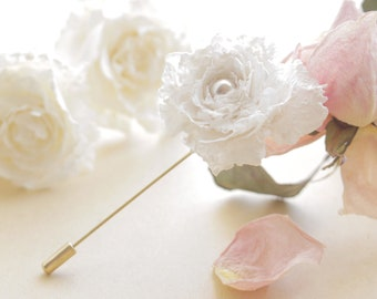 Dusty Blush Bloom Lacy Print Rose Shabby Chic Golden Stick Pin Pearl Jewelry Bridal Hair Accessory Men's Boutonniere Floral Flower Lapel Pin