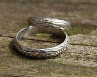 Two Tree Bark Sterling Silver Wedding bands