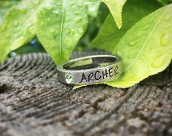 Stainless Steel Name Ring with Swarovski Birthstone
