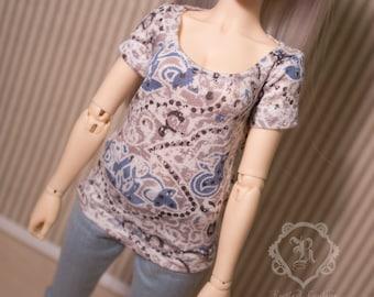 Blue and tan paisley tshirt for minifee dc kid and similar sized slim MSD BJD