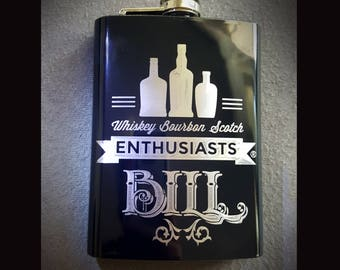 Whiskey Bourbon and Scotch Enthusiasts - Custom Etched Flasks