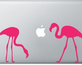 Flamingos laptop DECAL- macbook iPad computer- Gadget Art / Accessory - pink flying zoo  Geek Chic perfect gift