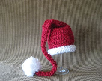 Crochet Baby Hat Elf Pixie Christmas  Red and White santa Hat Photo Prop