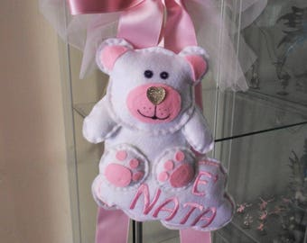 Birth bow baby girl-teddy bear, Teddy bear