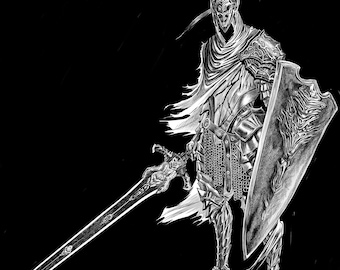 Abysswalker Knight Artorias , Dark Souls, Art Print, Illustration Videogame Print, Game Poster, Wall Art, Dark Art