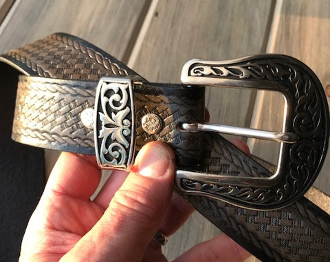 Western Leather Belt in Two-tone Black and Grey