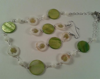 Green and White Shell and Jade Necklace and Earring Set