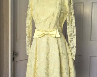 60's yellow lace party dress