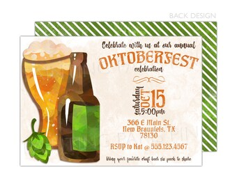 Oktoberfest Invitation | Beer | Octoberfest| Printable OR Professionally Printed | 5x7