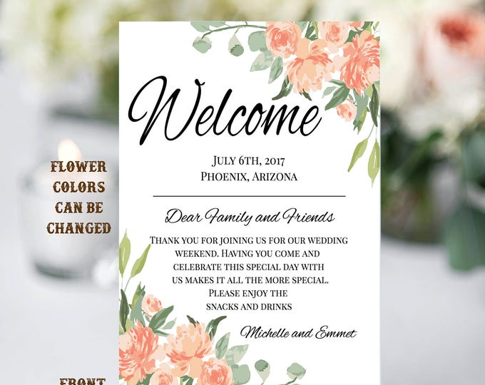 Floral Wedding Welcome Note Template, Welcome Note, Wedding Template, YOU EDIT, Welcome Bag Letter, Hotel Card, Itinerary, Agenda, Printable