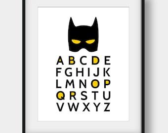 60% OFF Batman Alphabet, Batman Quote, Batman Print, Printable Art, Boys Room Decor, Nursery Decor, Superhero Alphabet, Alphabet Poster