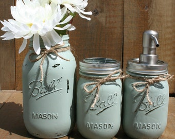 3 pc Bathroom Set. You CHOOSE COLORS & ITEMS! Custom-Painted-Mason Jar Toothbrush Holder -Mason Jar Soap Dispenser- Qtip- Cotton Ball!
