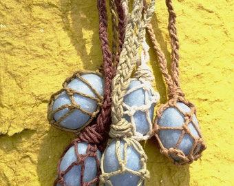 Sale - Angelite hemp crystal wrap necklace