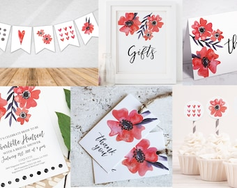 Red Floral Party Kit | Printable Party Kit | Instant Download PDF | Invitation | Banner | Cupcake Toppers | Tags | Print | Birthday | Shower
