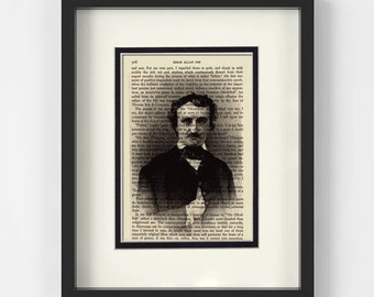 Mothers Day ideas - Edgar Allan Poe over Vintage Edgar Allan Poe Book Page