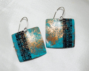 Square Copper Earrings with Verdigris Patina and Archival Ink